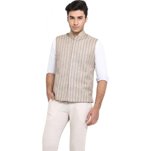 Protext Cream Jute Sleeveless Solid Nehru Jacket
