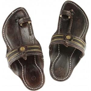 Ekolhapuri Brown Leather Slip-On Ethnic Foot Wear