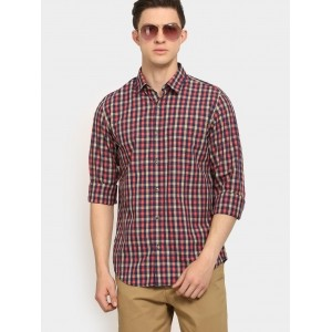 Peter England Navy Blue & Red Checked Printed Shirt