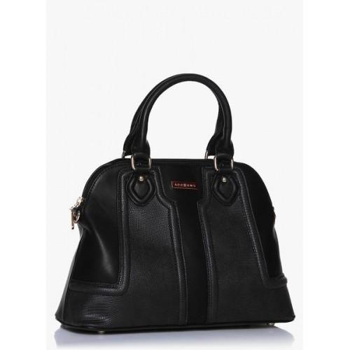 Addons Tonal Textured Panelled Black Handbag