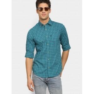 Peter England Sky Blue Checked Printed Casual Shirt