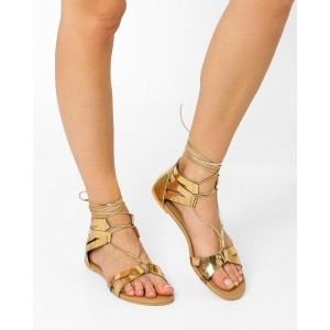 AJIO Golden Solid Lace Up Gladiator Flats