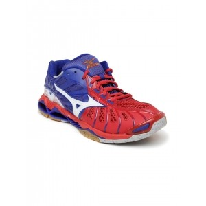Mizuno Red & Blue Synthetic Leather Running Shoes