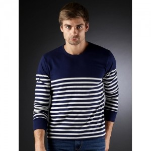 Moda Rapido Navy Blue Striped Printed T-Shirt