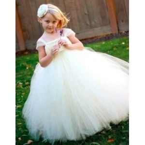 Forever Kidz White Solid Beauty Tutu Dress