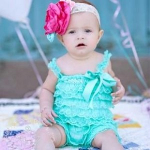 Mint Baby Love Ruffled Lace Romper