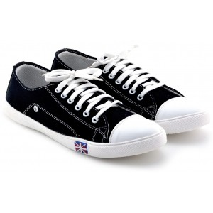 Black & White Lace Up Round Toe Canvas Shoes