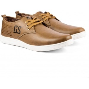 Golden Sparrow Brown Synthetic Leather Casual Shoes
