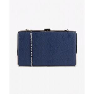 CARLTON LONDON Blue Lynsey Box Clutch with Detachable Strap