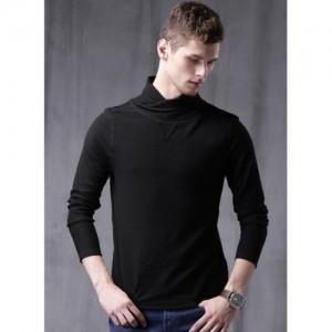 Wrogn Black Solid High Neck T Shirt