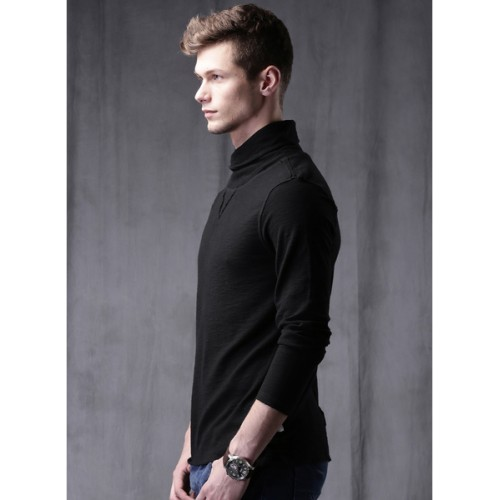 Wrogn Black Solid High Neck T Shirt