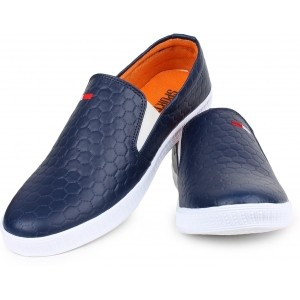 Inure Navy Blue Synthetic Leather Slip On Loafers