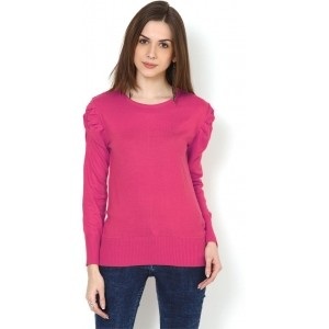 Fugue Pink Acrylic Solid Round Neck Sweater