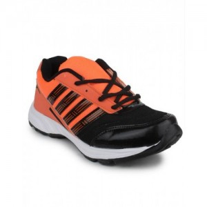 11E 11e Black & Orange Artifical Leather Running Shoes