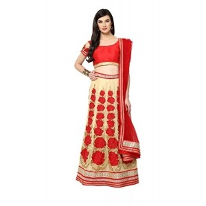 Yepme Red & Beige Poly Cotton Embroidered Lehenga