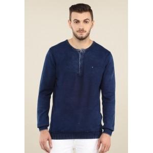 Spykar Navy Blue Solid Cotton Textured T-shirt