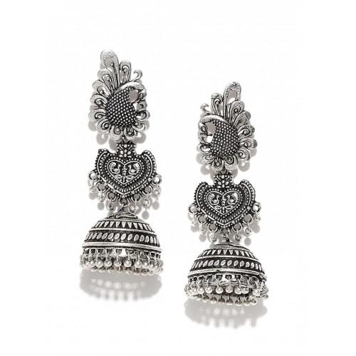 3883ee4ee8398 Buy FIROZA Oxidised Silver-Toned Jhumka Earrings online | Looksgud.in