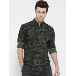 Tommy Hilfiger Men's Olive Green Printed Casual Shirt