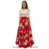 EthnicBasket White & Red Satin Embroidery Semi Stitched Lehenga Suit Lehenga Suit-BE70573