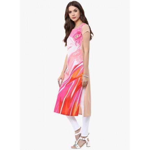 Janasya Pink Crepe Abstract Printed Straight Kurti