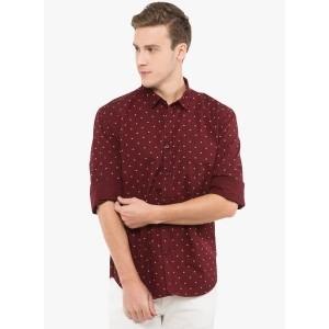 Highlander Maroon Cotton Printed Casual Shirt