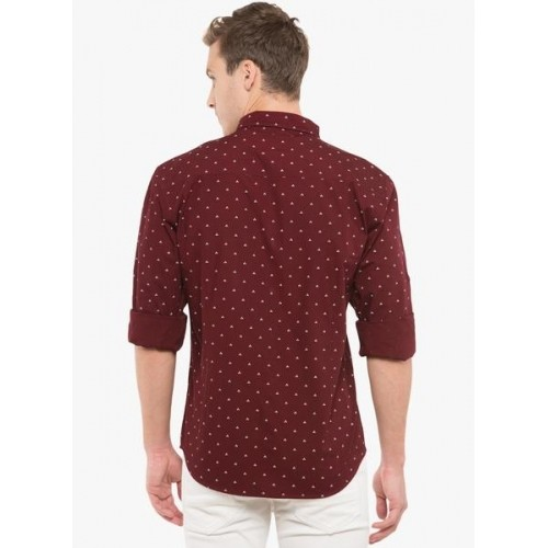 Highlander Maroon Cotton Printed Casual Shirt