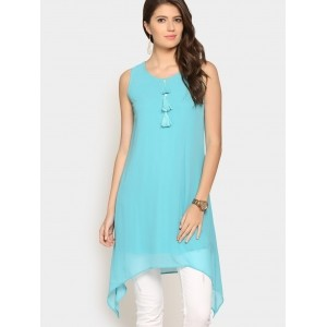 abof Fusion Turquoise Blue Regular Fit Trail Cut Kurti