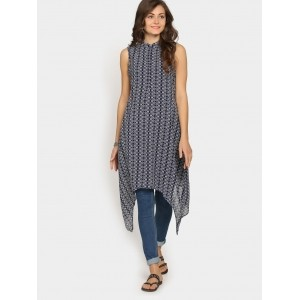 abof Fusion Navy Printed Regular Fit Trail Cut Kurti