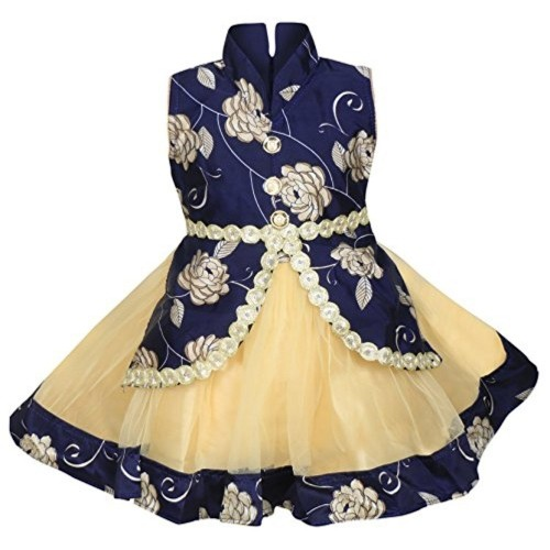 Cute Fashion Blue & Beige Party Wear Frock Dresses