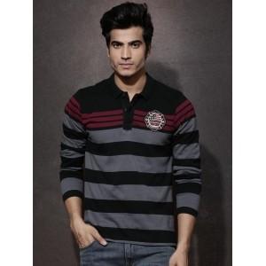 Roadster Black & Grey Cotton Striped Polo T-Shirt
