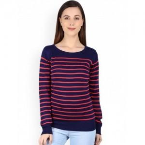 Manola Navy Blue & Pink Striped Printed Sweater