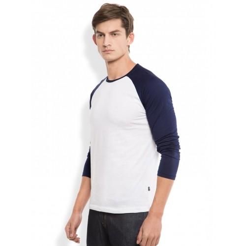 HIGHLANDER White & Blue Solid Round Neck T-shirt