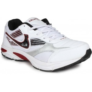 Columbus White Lace Up Men's Running Shoes