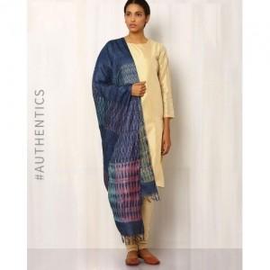 Indie Picks Navy Blue Hand Block Print Pure Tussar Dupatta