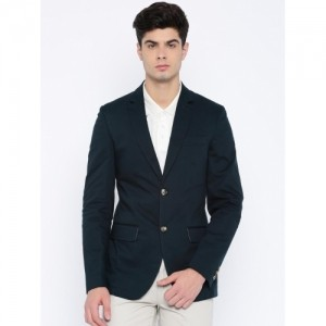 Mast & Harbour Navy Cotton Single-Breasted Casual Blazer