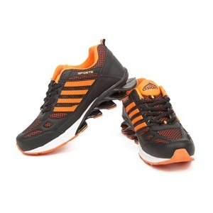 Asian Orange & Gray Mesh Lace Up Sports Shoes