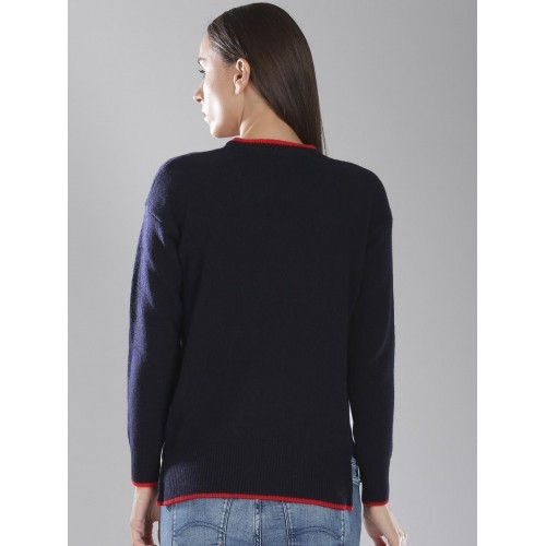 Tommy Hilfiger Navy Blue & White Wool & Cashmere Sweater