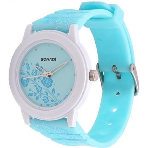 Sonata 8992PP06CJ Sky Blue Round Analog Watch