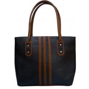 Vintage Navy Blue & Brown Artificial Leather Hand-held Bag