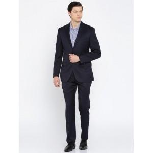 Park Avenue Navy Blue Solid Slim Fit Formal Suit