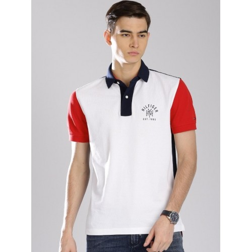 c5b6ff7efa61 Buy Tommy Hilfiger White Cotton Colour Blocked Polo Collar T-shirt ...