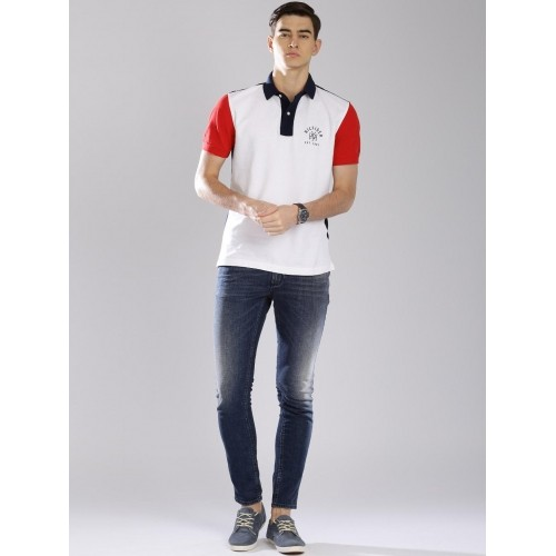 e6e8bc18ad7296 Buy Tommy Hilfiger White Cotton Colour Blocked Polo Collar T-shirt ...