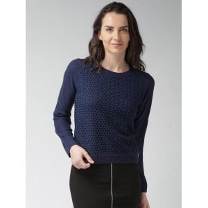 Mast & Harbour Navy Blue Acrylic Long Sleeves Sweater