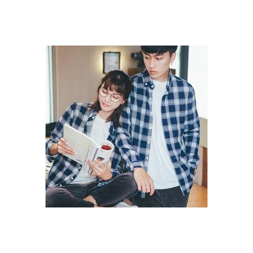 fd571802ea Buy Blue CottoN Checked Casual Couple Shirt online | Looksgud.in