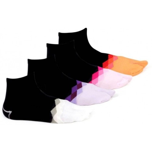 Bonjour MultiColor Cotton Geometric Print Ankle Length Socks