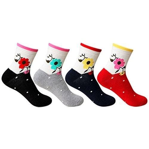 Bonjour Womens Multicolor Ankle Length Pack of 4 pairs Socks
