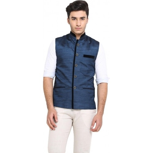 Protext Premium Blue Sleeveless Solid Men's Modi Jacket Jacket