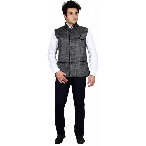 PSK Gray Jute Slim Fit Solid Waistcoat