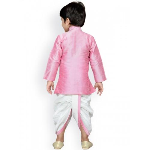 Aj DEZInES Boys Pink & White Embellished Dhoti Set