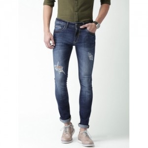 Mast & Harbour Navy Blue Skinny Fit Mildly Distressed Jeans